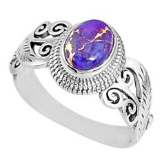 925 silver 2.13cts purple copper turquoise oval solitaire ring size 8.5 r68643
