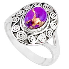 925 silver 2.00cts purple copper turquoise oval solitaire ring size 8.5 r68884