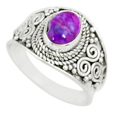 925 silver 2.13cts purple copper turquoise oval solitaire ring size 7.5 r81515