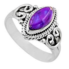 925 silver 2.08cts purple copper turquoise solitaire ring jewelry size 7 r54449