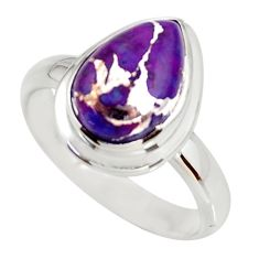 925 silver 4.53cts purple copper turquoise solitaire ring jewelry size 8 r34184