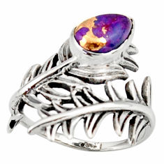 925 silver 2.23cts purple copper turquoise solitaire ring jewelry size 8 r37013