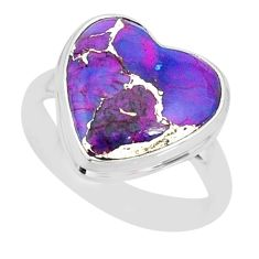 925 silver 8.31cts purple copper turquoise solitaire ring jewelry size 8 r84700