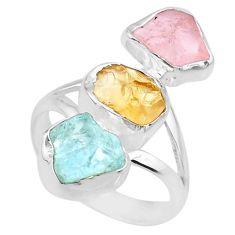 925 silver 12.06cts raw citrine aquamarine rose quartz raw ring size 8 r73759
