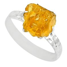 925 silver 2.04cts raw citrine rough fancy solitaire ring size 6 r79369