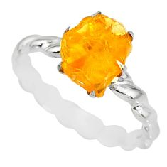 925 silver 2.25cts raw citrine rough solitaire ring jewelry size 8.5 r79367