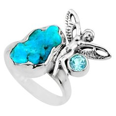 925 silver 7.50cts raw sleeping beauty turquoise raw ring size 7.5 r66663