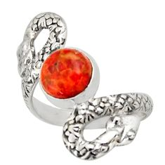 925 silver 3.13cts red copper turquoise round snake solitaire ring size 7 d46267
