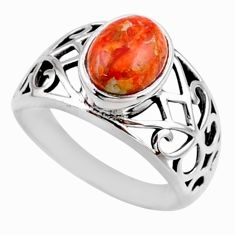 925 silver 3.23cts red copper turquoise solitaire ring jewelry size 7 r54670