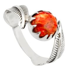 925 silver 3.05cts red copper turquoise solitaire ring jewelry size 9 d46504