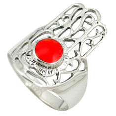 925 silver red coral enamel hand of god hamsa ring jewelry size 7.5 c11987