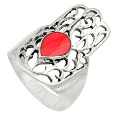 925 silver red coral enamel hand of god hamsa ring jewelry size 6.5 c21641
