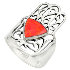 925 silver red coral enamel hand of god hamsa ring jewelry size 7 c11983