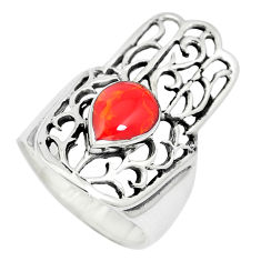 925 silver 4.65gms red coral enamel hand of god hamsa ring size 6 c12801