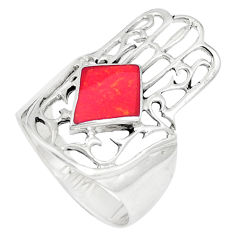 925 silver 4.47gms red coral enamel hand of god hamsa ring size 8 a93331 c13166