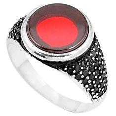 925 silver 7.85cts red garnet quartz black topaz mens ring size 11 c11528