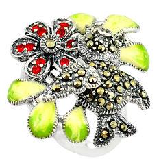 925 silver red garnet quartz marcasite enamel ring jewelry size 7 c15971