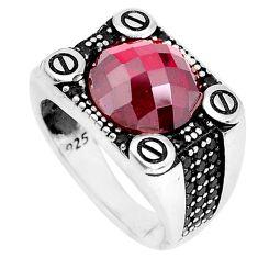 925 sterling silver 6.81cts red garnet quartz topaz mens ring size 9.5 c11441