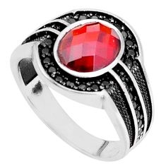 4.82cts red garnet quartz topaz 925 sterling silver mens ring size 11 c11519