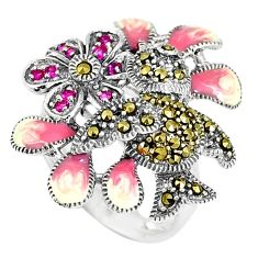925 sterling silver 0.90cts red ruby (lab) marcasite enamel ring size 7 c15930