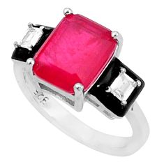 925 silver 5.63cts red ruby (lab) topaz black enamel ring size 5.5 c20052