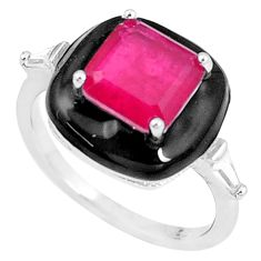 925 silver 33.12cts red ruby (lab) topaz enamel solitaire ring size 7 c23586
