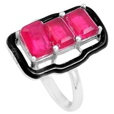 925 silver 4.89cts red ruby (lab) topaz enamel solitaire ring size 8 c23591