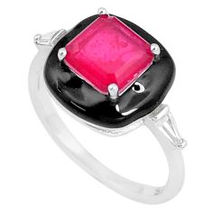 925 silver 4.52cts red ruby (lab) topaz enamel solitaire ring size 9 c23585