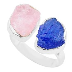 925 silver 12.06cts rose quartz tanzanite raw adjustable ring size 8 t9964