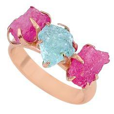 9.71cts ruby aquamarine raw 14k rose gold ring size 7 t34932
