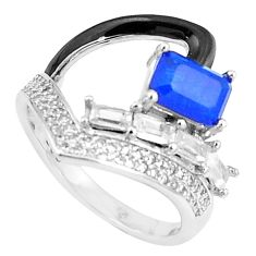 925 silver 4.52cts sapphire (lab) topaz enamel solitaire ring size 6.5 c20496