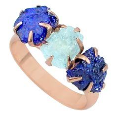 Handmade 8.92cts sapphire aquamarine raw 14k rose gold ring size 8 t34939