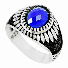 925 silver 3.61cts blue sapphire quartz oval topaz mens ring size 10.5 c11500