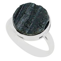 925 silver schorl grounding black tourmaline raw solitaire ring size 9 r96697