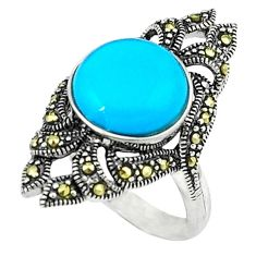 925 silver blue sleeping beauty turquoise fine marcasite ring size 6.5 c18737