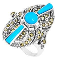 925 silver 4.36cts blue sleeping beauty turquoise marcasite ring size 7 c16412
