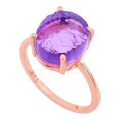 Handmade 5.22cts solitaire amethyst raw 14k rose gold ring size 8 t33266