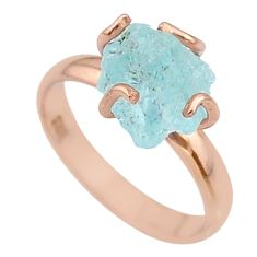 925 silver 5.42cts solitaire aquamarine rough 14k rose gold ring size 8 t36857