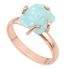 925 silver 5.96cts solitaire aquamarine rough 14k rose gold ring size 9 t36859