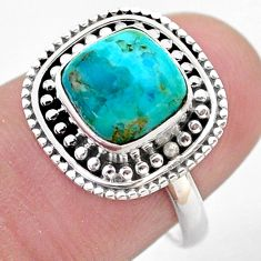 925 silver 3.65cts solitaire blue arizona mohave turquoise ring size 7 t46103