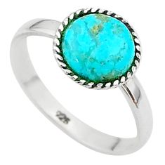 925 silver 2.68cts solitaire blue arizona mohave turquoise ring size 7.5 t41348