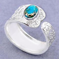 925 silver 1.42cts solitaire blue copper turquoise adjustable ring size 8 t47409