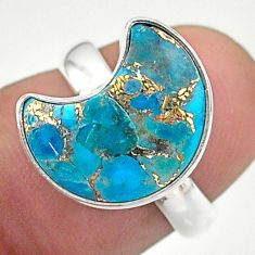 925 silver 5.03cts solitaire blue copper turquoise moon ring size 6 t47748