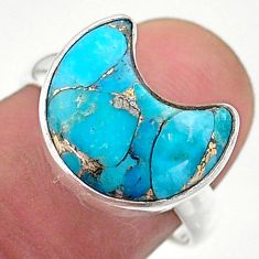 925 silver 5.53cts solitaire blue copper turquoise moon ring size 7.5 t47798