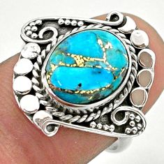 925 silver 4.90cts solitaire blue copper turquoise oval shape ring size 7 t39944