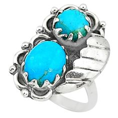 925 silver 6.78cts solitaire blue sleeping beauty turquoise ring size 7 t6433