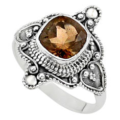 925 silver 3.22cts solitaire brown smoky topaz cushion ring size 9.5 t27023