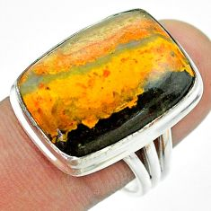 925 silver 17.20cts solitaire bumble bee australian jasper ring size 8.5 t54216
