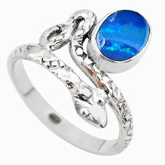 925 silver 1.82cts solitaire doublet opal australian snake ring size 8.5 t31984