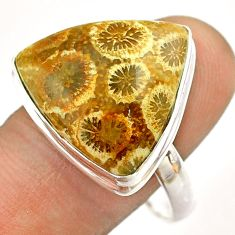 925 silver 16.70cts solitaire fossil coral petoskey stone ring size 11 t54374